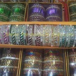 Silver Color Stone Bangles Set