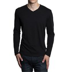 Mens Nylon V Neck Black T Plain Shirts