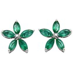 Floral Emerald Gold Earrings