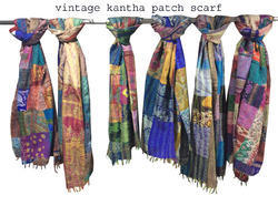 Vintage Silk Kantha Patch Scarf Big Size