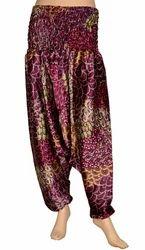 Silk Digital Printed Harem Yoga Pants, Baggy Genie Trousers, Waist Size: 28.0