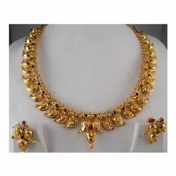 Golden Brass Indian Jewellery, Anniversary, Jewellery Type: Necklace