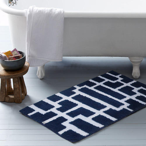 Blue And White Bath Rug Home Decor