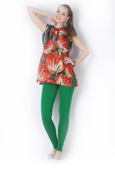 Green Color Full Length Cotton Stretch Legging