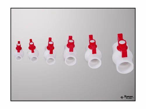Kanan Plast White and Red Plastic Ball Valves