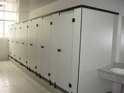 HPL Board Off White And Grey Bathroom Partition System In Waterproof - Laminate bathroom partitions
