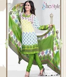 White and Green Crepe Churidar Material