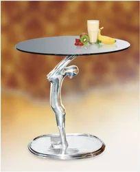 Polished Aluminum & Brown Fiber Coffee Table