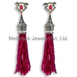 Pink Tourmaline Gemstone Tassel Pave Diamond Earring Jewelry