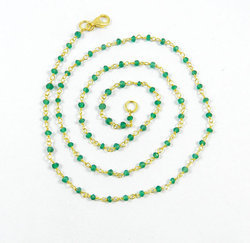 Green Onyx Beaded Chain Necklace