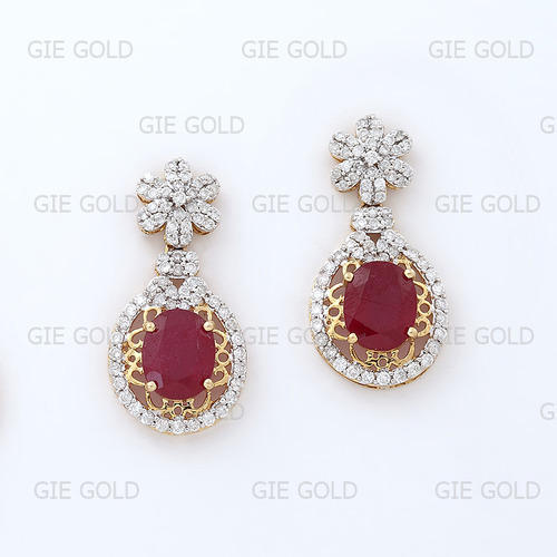 Beautiful Diamond Ruby Dangler Earrings
