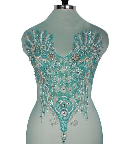 094a9ea7cde Arctic Blue Beaded Bustier Corsets - Tissus Sajavat