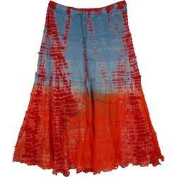 Orange Blue Indian Long Skirt