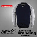 Henex Blue And Grey Mens Blue Pullover