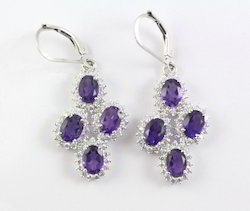 925 Amethyst Gemstone Sterling Silver Earring