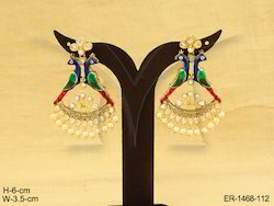Golden Party Wear And Wedding Wear Duet Back To Back Peacock Polki Earring