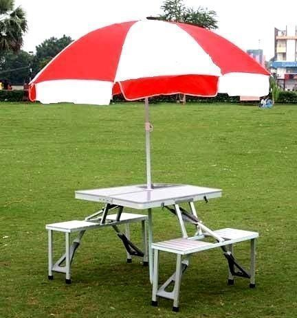 Miraculous Aluminium Folding Portable Picnic Table With Chair Umbrella Download Free Architecture Designs Scobabritishbridgeorg