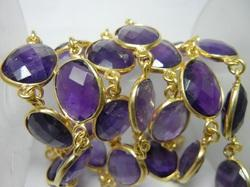 Gold Plated Amethyst Bezel Set Connector Station Chain