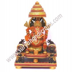 Wooden Ganesh Painted