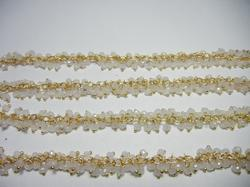 White Chalcedony Gemstone Wire Wrapped Cluster Chain