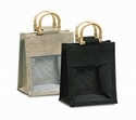 Small Jute Bags with PVC Window