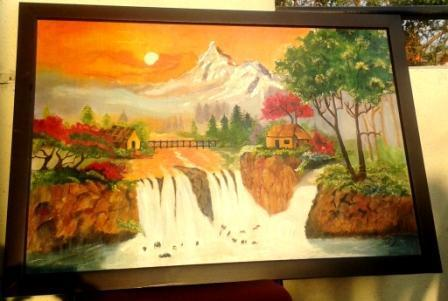 scenery with waterfall original oil painting on board at rs 4000
