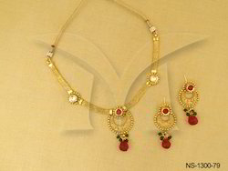 Polo Half Chand Moti Polki Necklace Set