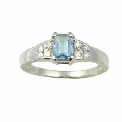 Aquamarine and Diamond White Gold 18K Ring