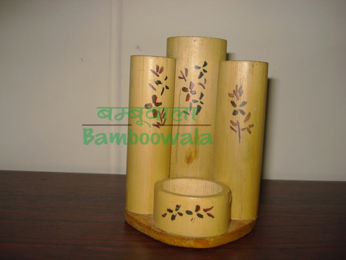 Square Bamboo Pen Stand | Dark Brown
