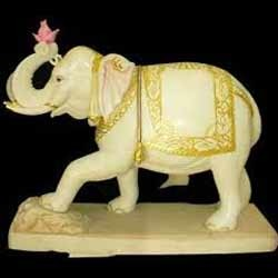 Painted Elephant Marble Statue