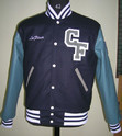 Navy Sky Blue Varsity Jacket - Plain