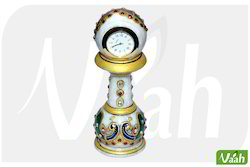 Vaah Marble Pillar Clocks with Meenakari