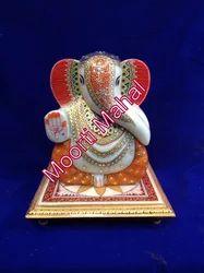 Chowki Ganesh Marble Statue