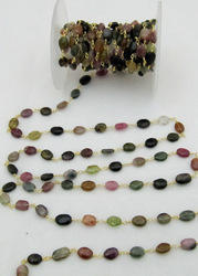 Multi Oval Tourmaline Rosary Bead Chain, Wire Wrapped Beads