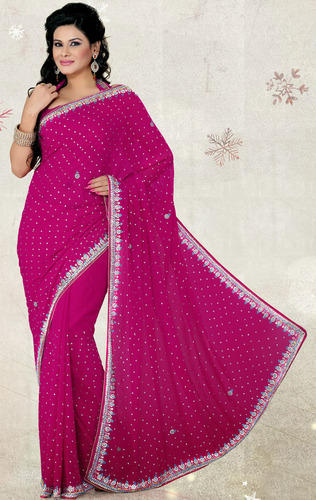 Rani Pink Color Faux Chiffon Saree With Blouse