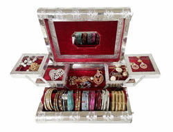 Silver Metal Finish Wooden Handmade Jewelry Box - Maroon