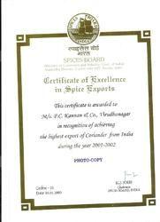Spice Excellence Award