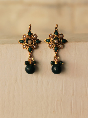 Gold Plated Green Stone And White Pearl Earrings