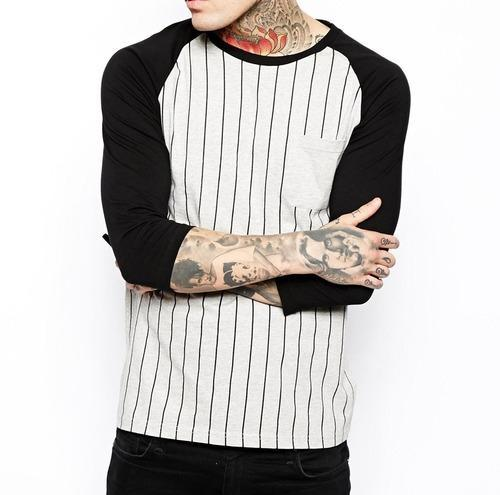 Men 3 4 Sleeve T Shirt With Vertical Stripes Print And Pock at Rs 290   piece  b543023dd050