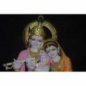 Gold Plated Radha Krishna Stone Statue