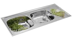 Double Bowl Stainless Steel Kitchen Sink with Drain Board