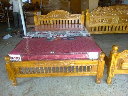 Teak Wood Double Cot Bed Sleeping Cots क ट ब ड ख ट