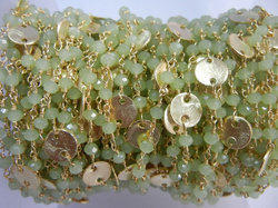 Green Chalcedony Gold Plated Sterling Silver Disk Chain