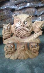 Wooden Jali Owl Family