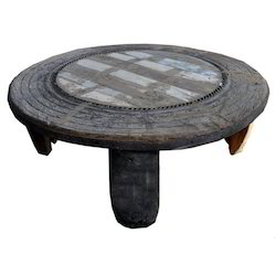 Antique Round Coffee Table Re Purposed