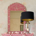 Vinayak Art School Pink Arched Shape Mother Of Pearl Inlay Mirror Frame