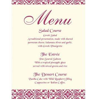 Wedding Food Menu Card