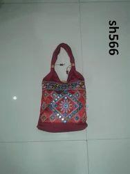 Maroon Embroidered Designer Handicrafts Bag