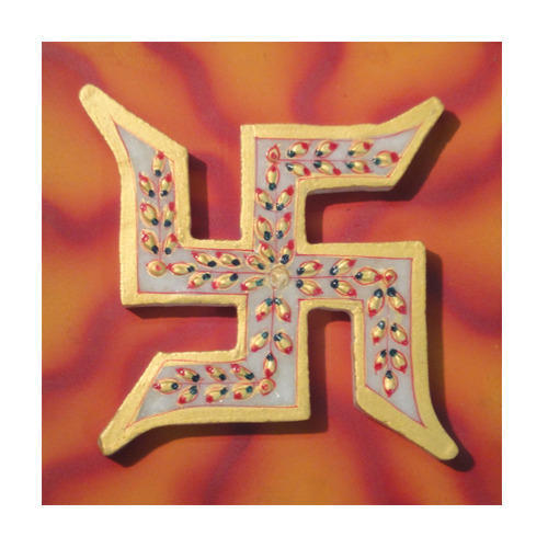 Marble Swastik Mounted On Wooden Board Global Voice Publishers