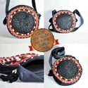 Cotton Fabric Patchworking Mirror Work In Circle Round Black Bag, Size: 12.0 Inch (h) X 12.0 Inch (w)